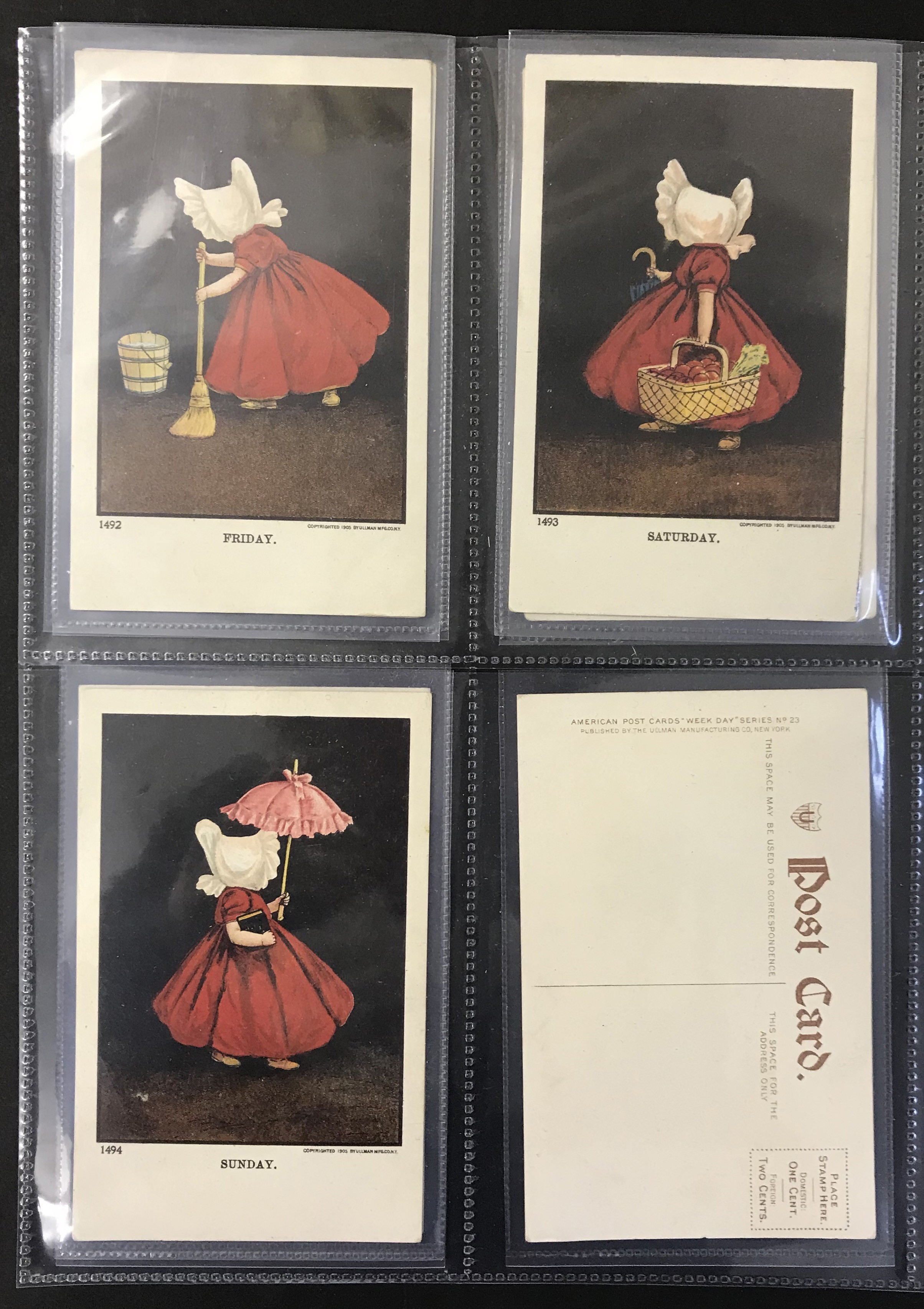 Ullman Manufacturing Co. Postcards - Complete set of Sunbonnet Baby Days - Image 3 of 11