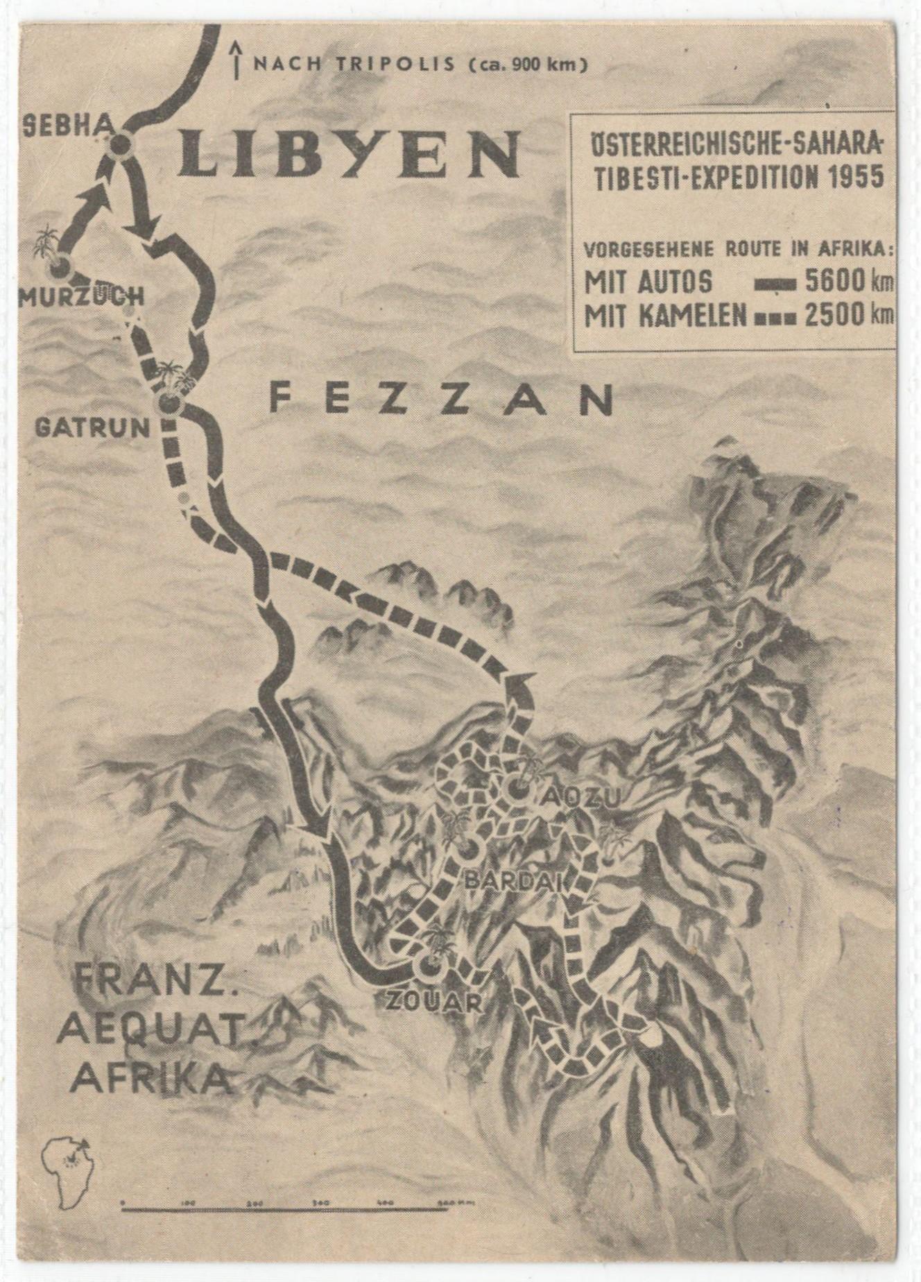 THE AUSTRIAN SAHARA TIBESTI EXPEDITION 1955 POSTCARD