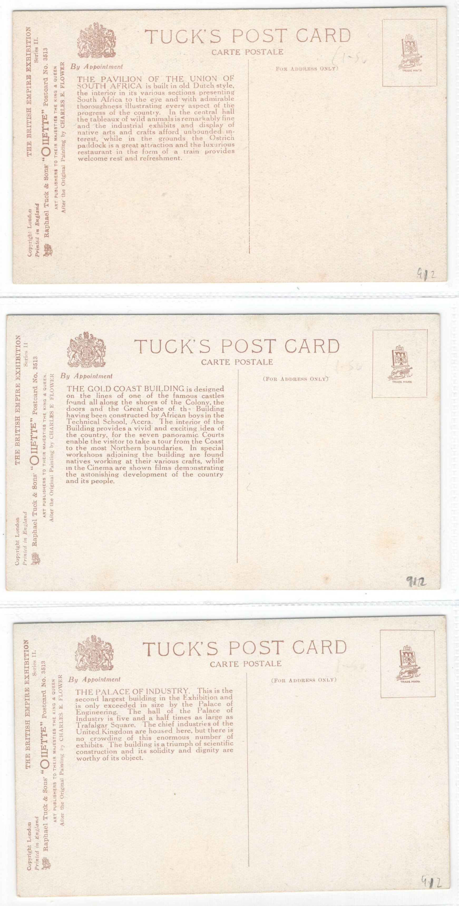 SET OF SIX RAPHAEL TUCK POSTCARDS - THE BRITISH EMPIRE EXHIBITION SERIES II - 3513 - Image 3 of 3