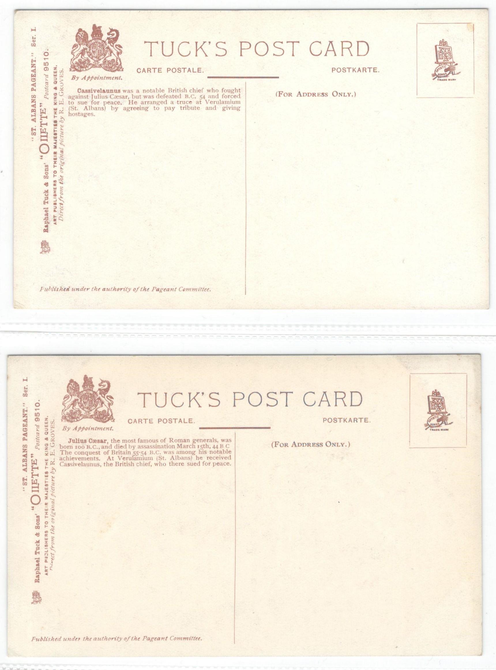 ST ALBANS PAGEANTS SERIES I, II & III - SIX RAPHAEL TUCK POSTCARDS - Image 2 of 6