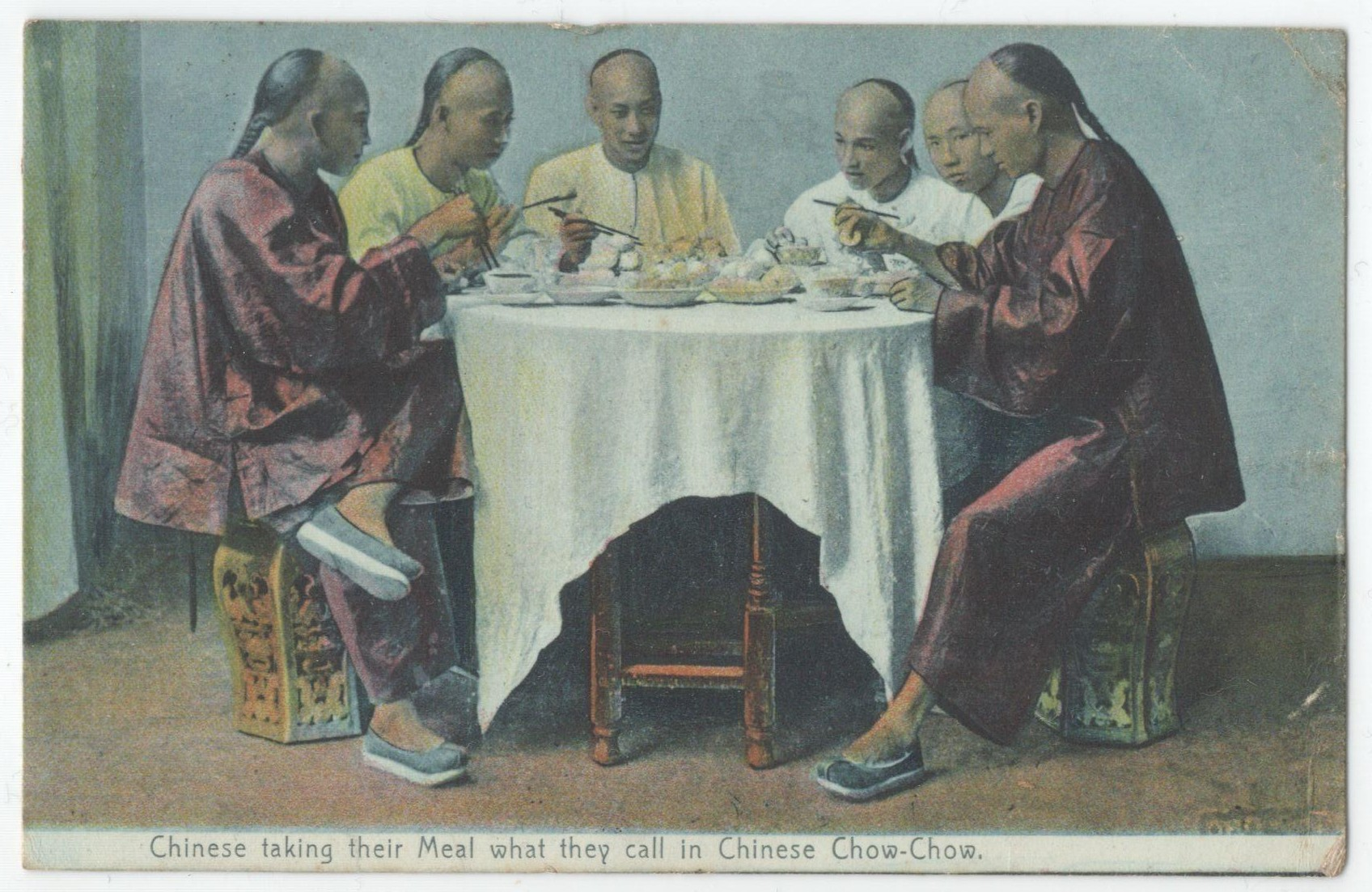 CHINESE TAKING THEIR MEAL CHOW-CHOW - POSTED POSTCARD TEMPORARY P.O. CHOWRASTA 1908