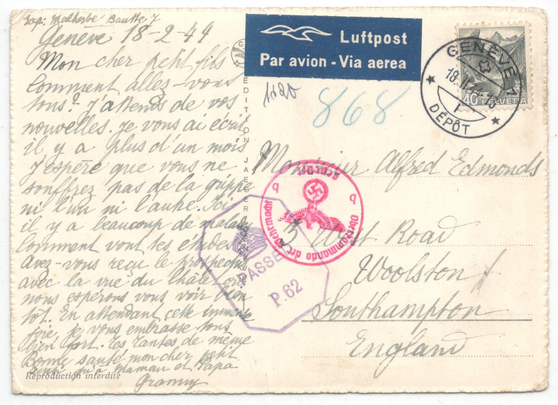 1944 COMITE INTERNATIONAL DE LA CROIX ROUGE GENEVE - POSTED 1944 PASSED BY CENSOR - Image 2 of 2