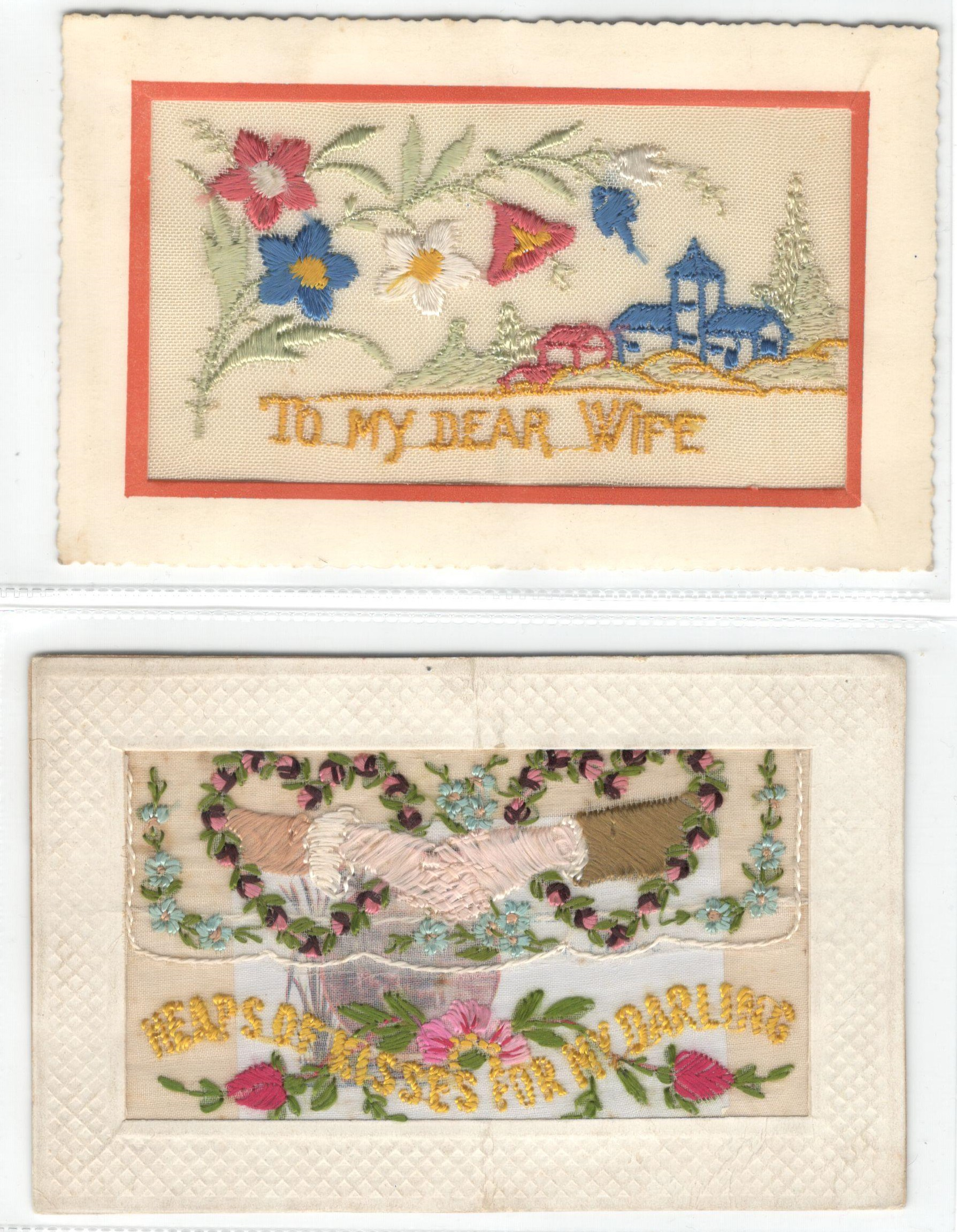 FIFTEEN EARLY EMBROIDERED SILK POSTCARDS IN VARIOUS CONDITION - Image 8 of 9