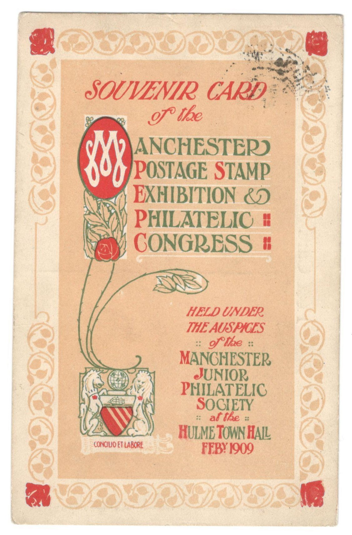 SOUVENIR CARD OF THE MANCHESTER POSTAGE STAMP EXHIBITION & PHILATELIC CONGRESS