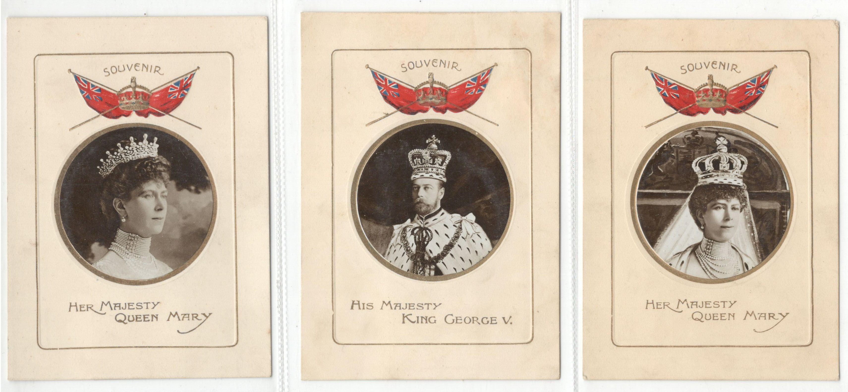 THREE SOUVENIR SMALL SIZE POSTCARDS HIS MAJESTY KING GEORGE V & QUEEN MARY