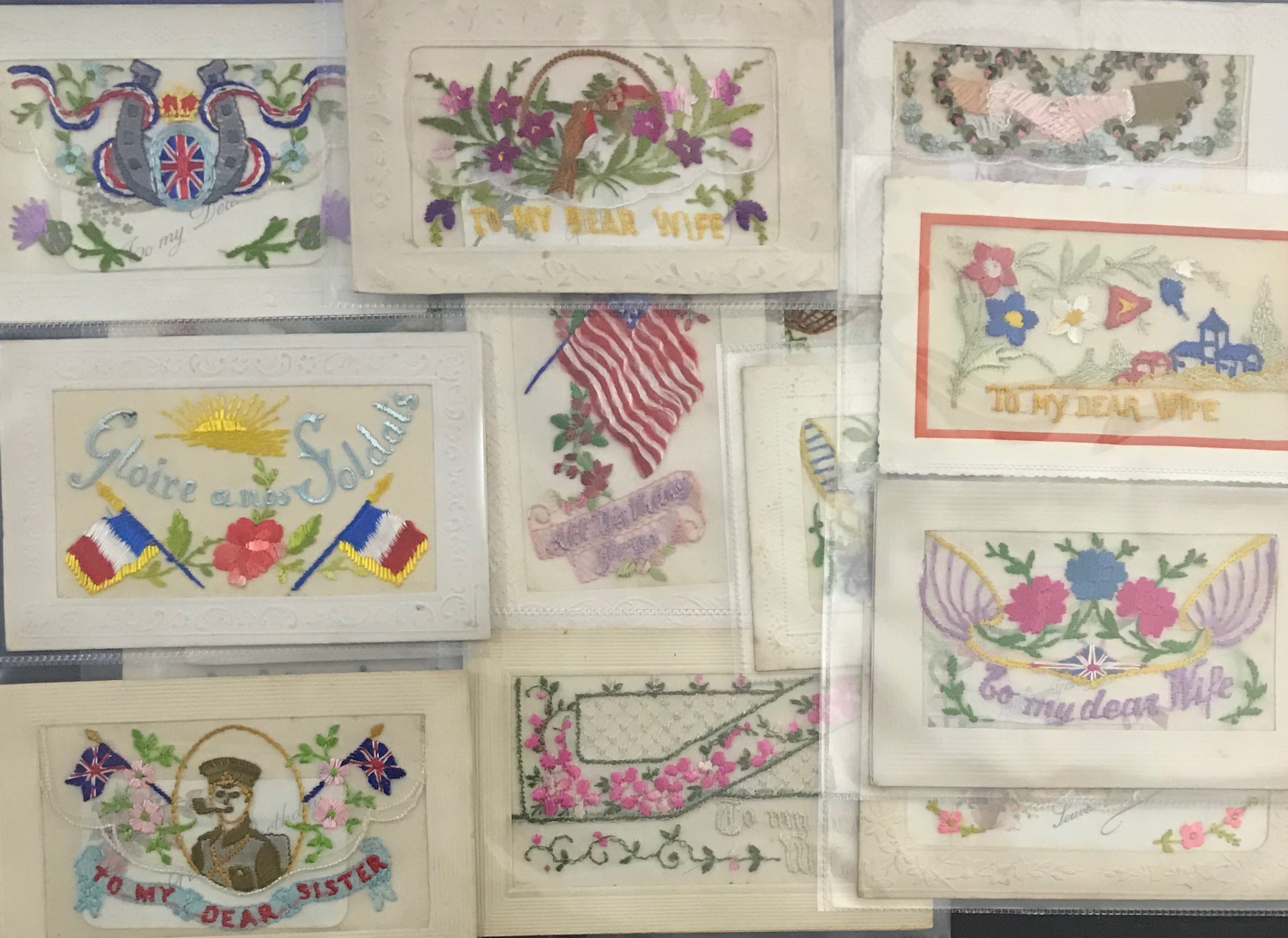 FIFTEEN EARLY EMBROIDERED SILK POSTCARDS IN VARIOUS CONDITION - Image 2 of 9
