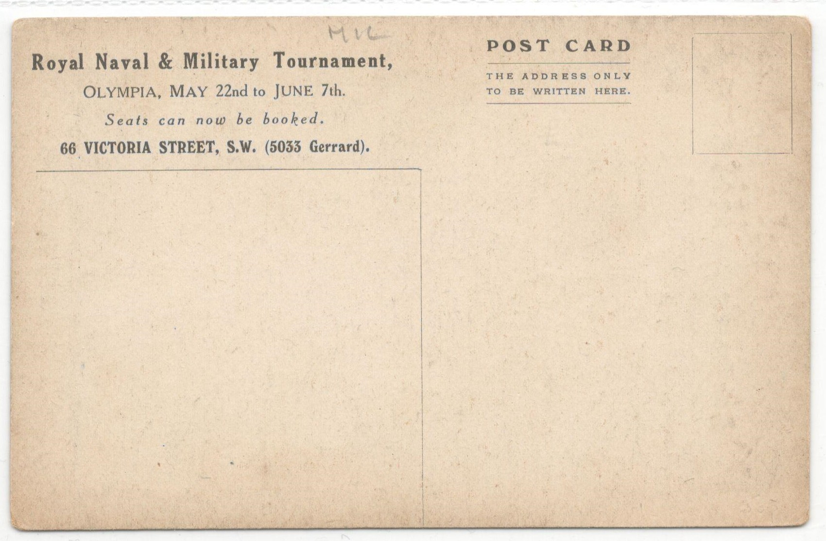 1920 ROYAL NAVAL & MILITARY TOURNAMENT POSTCARD - Image 2 of 2