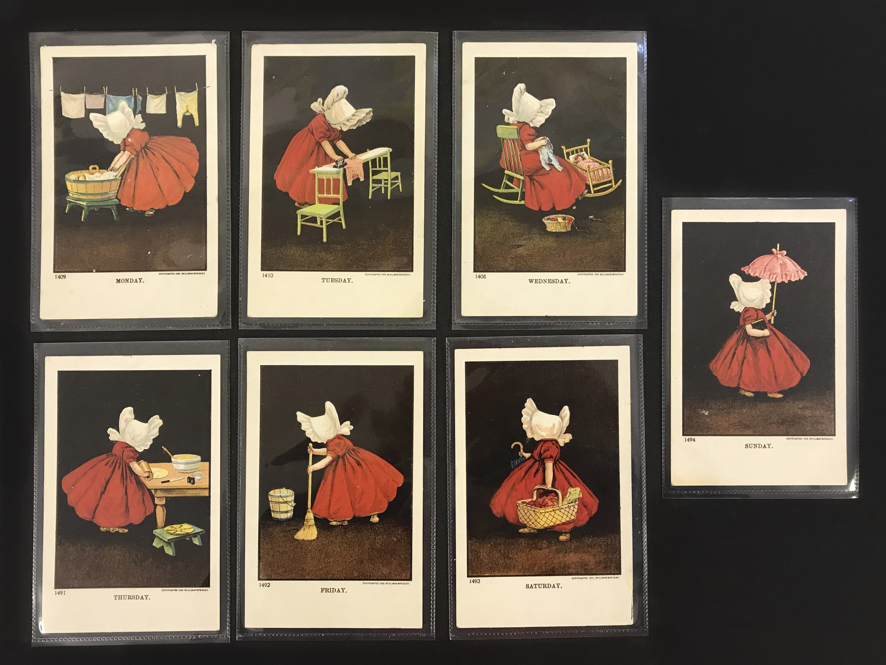 Ullman Manufacturing Co. Postcards - Complete set of Sunbonnet Baby Days