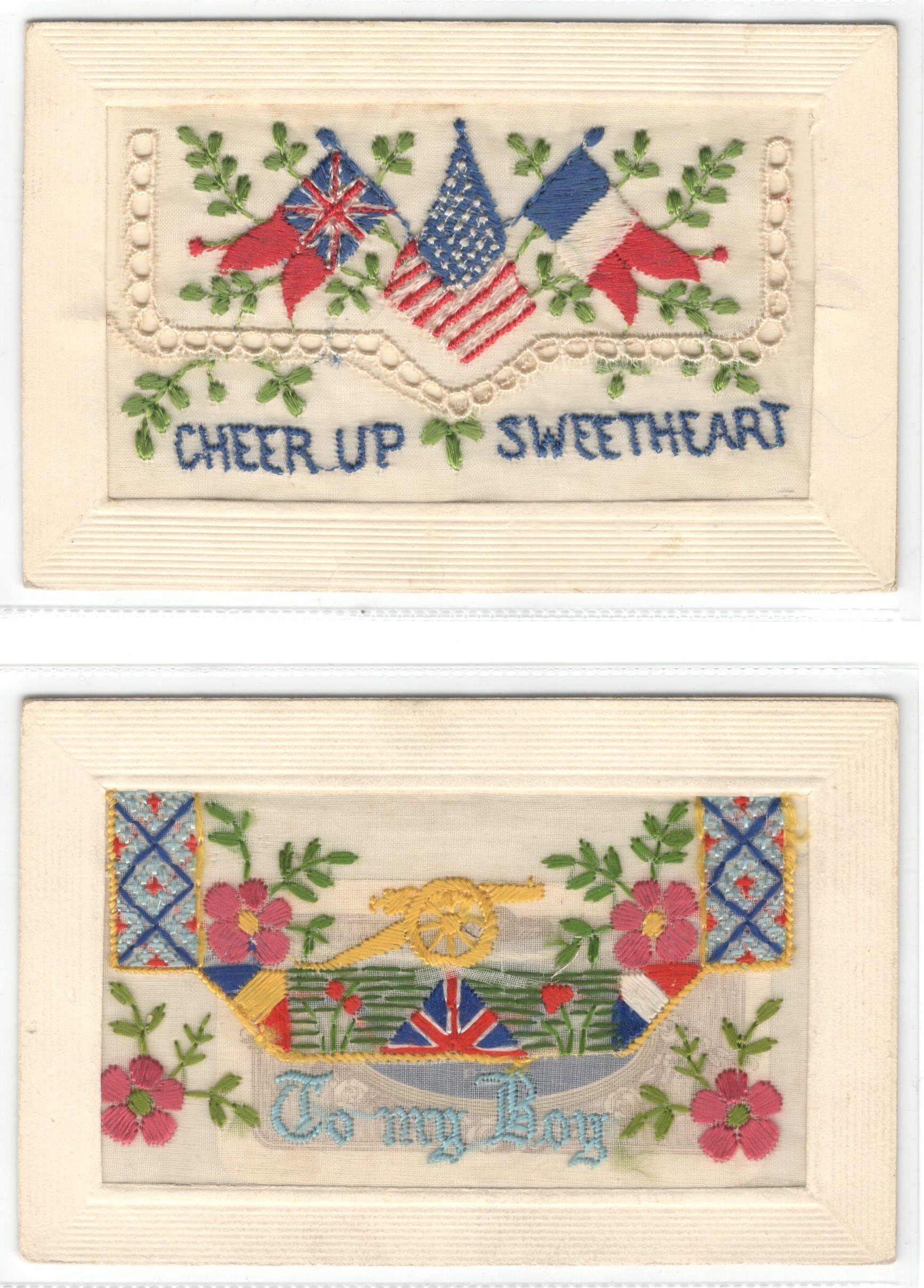 FIFTEEN EARLY EMBROIDERED SILK POSTCARDS IN VARIOUS CONDITION - Image 3 of 9