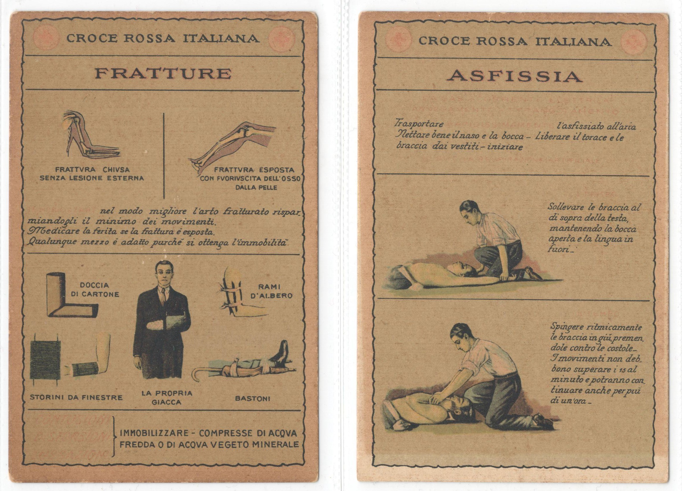 TWO VINTAGE ITALIAN RED CROSS POSTCARDS - CROCE ROSSA ITALIANA FRATTURE & ASFISSIA