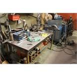 "Steel welding work bench, 5' x 29"" x 32"" w/vise."