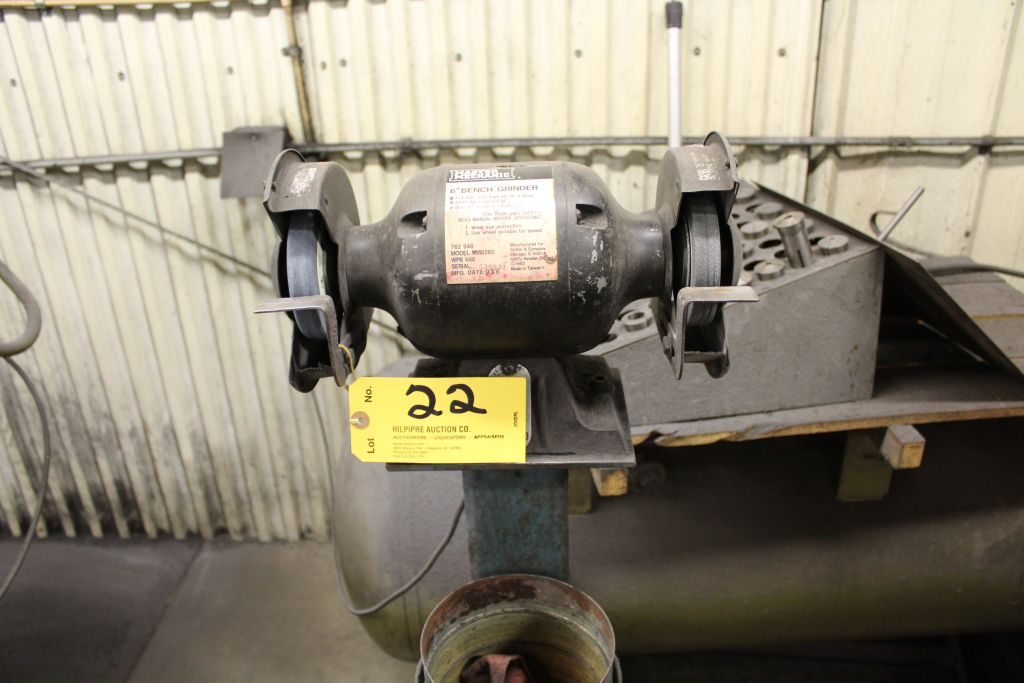 Lot 022 - Master mechanic bench grinder, 1/2 hp, on stand.