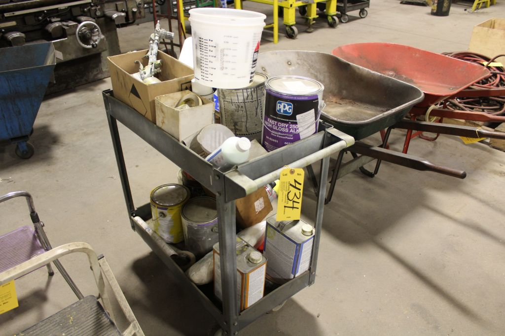 Lot 434 - Job cart with contents, auto body paint, spray gun, etc.