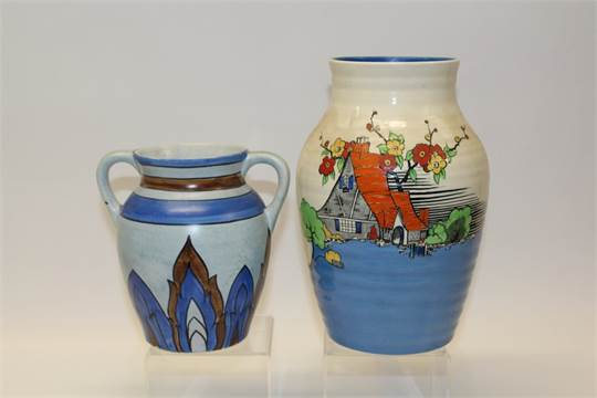 Wilkinsons Pottery Vase Decorated In The Picardy Pattern And One