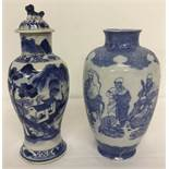 2 pieces of Chinese blue and white ceramics.