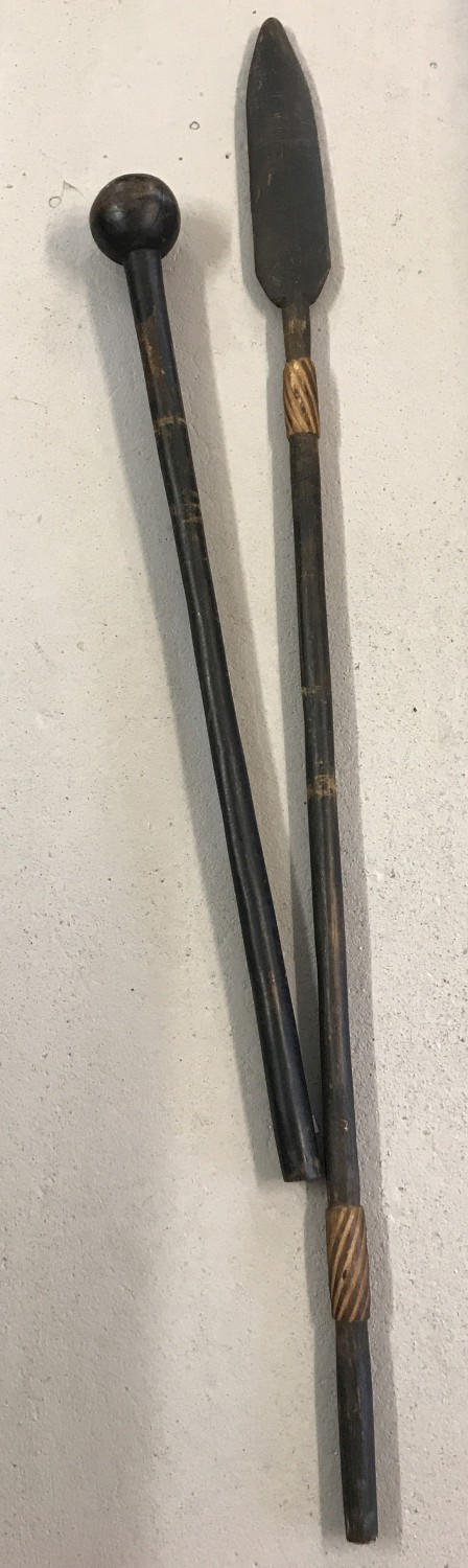 2 vintage wooden African weapons. A decorative wooden headed Assegai together with a Knobkerrie.