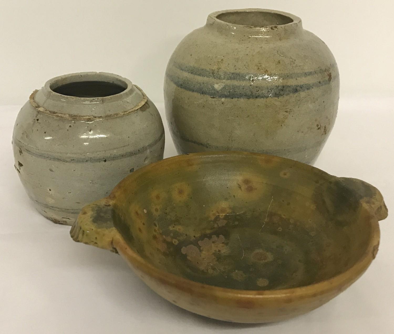 3 pieces of eastern stoneware ceramics.
