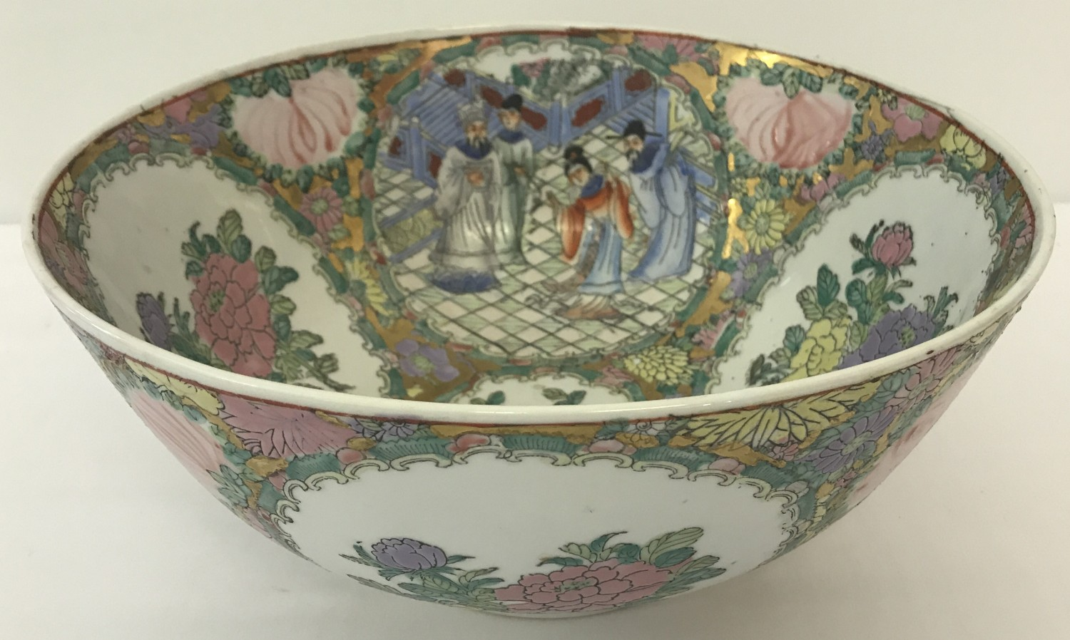 Lot 63 - A large Cantonese Famille Rose punch bowl.