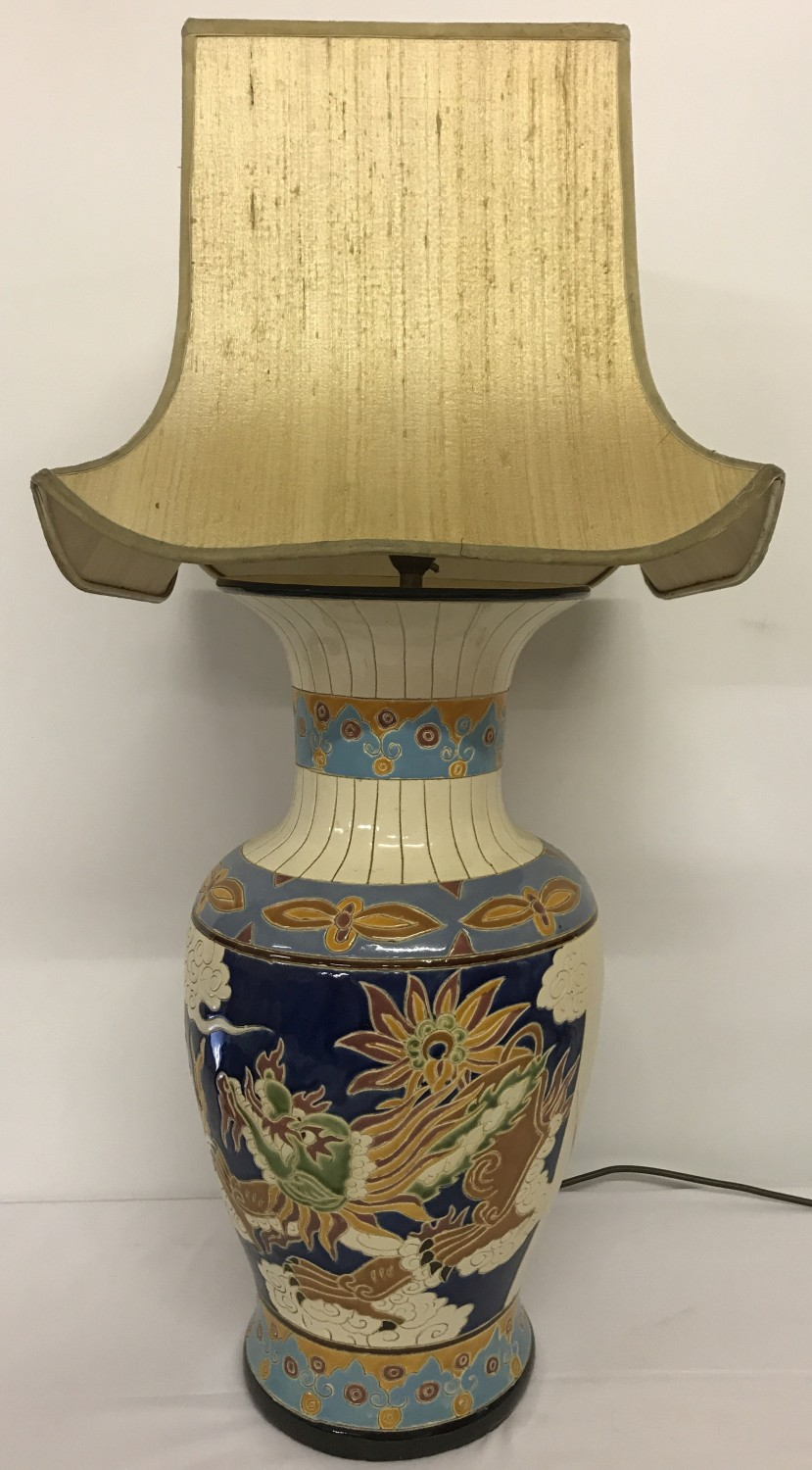 A large Chinese ceramic urn shaped table lamp with colourful dragon panel design.