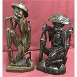 2 Chinese wooden carved figurines of oriental gentleman.