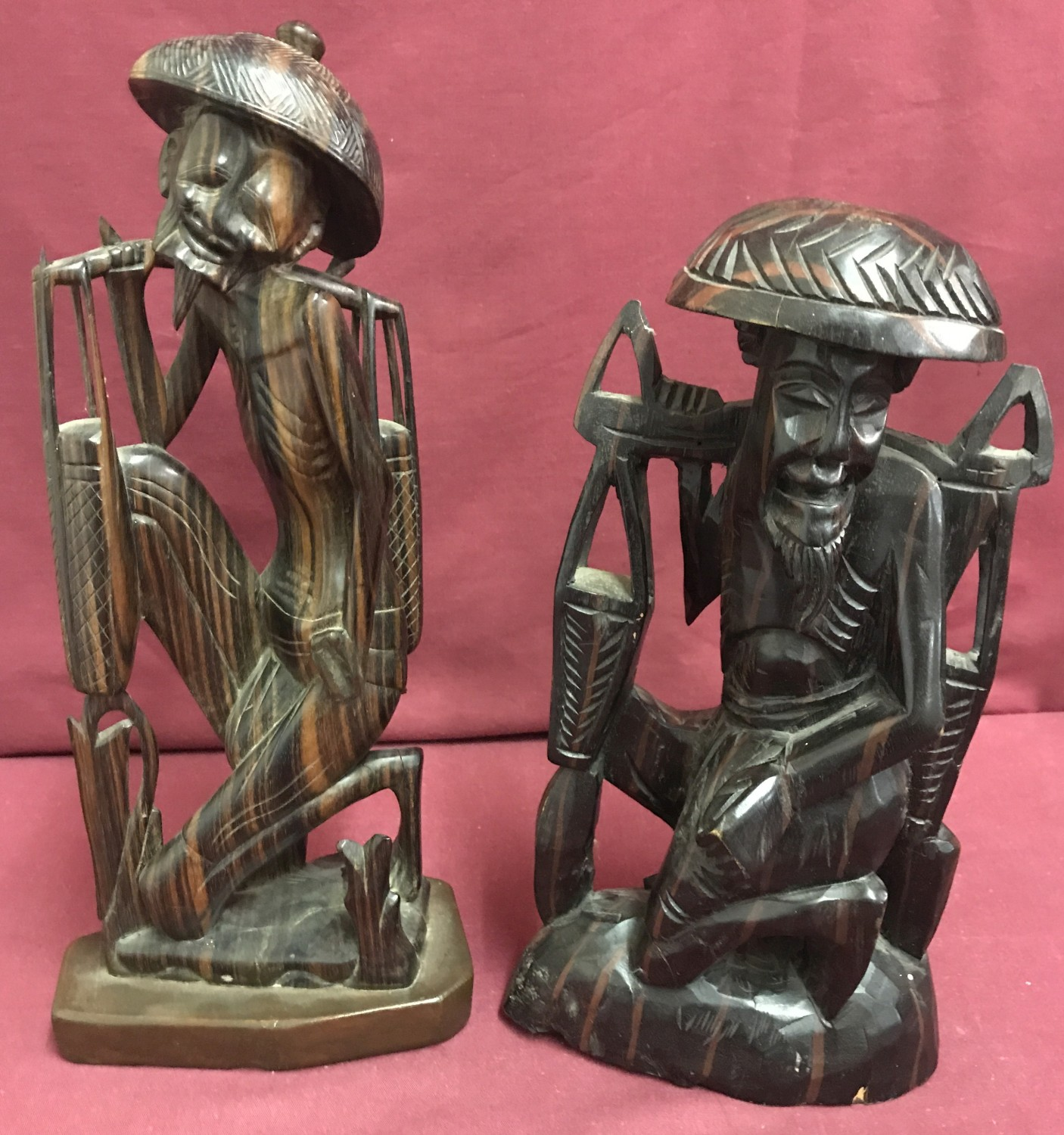 Lot 141 - 2 Chinese wooden carved figurines of oriental gentleman.