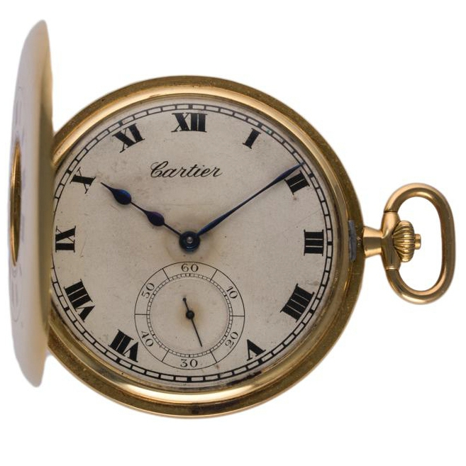 Lot 4 - A RARE 18K SOLID GOLD CARTIER HALF HUNTER POCKET WATCH  CIRCA 1930 IN ORIGINAL CARTIER BOX  D: