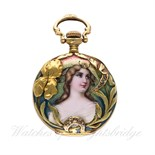 Lot 3 - A LADIES 18K SOLID GOLD OPEN FACE ART NOUVEAU ENAMEL POCKET WATCH  CIRCA 1901  D: White enamel