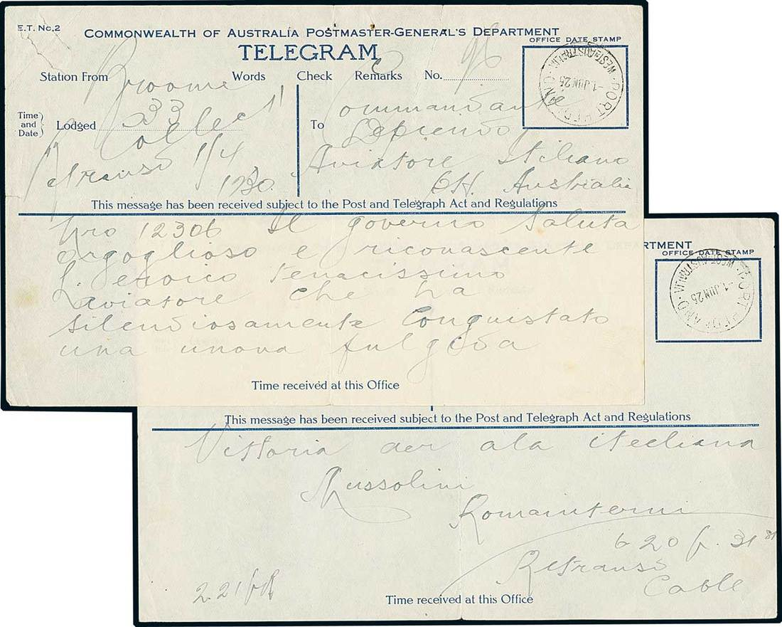 Francesco De Pinedo1925 1176 Giugno Telegramma Di Due Pagine