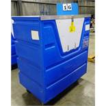 "BLUE PLASTIC 29""W X 48""L X 56"" H PORTABLE TRANSPORT BIN, LOCKING SYSTEM, ON CASTERS"