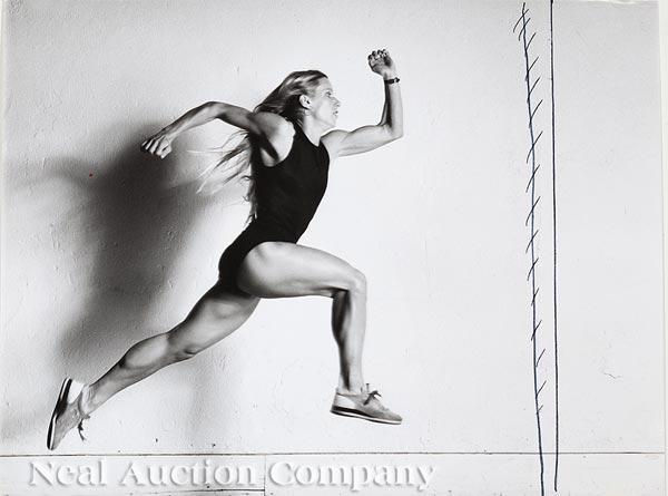 "Lot 312 - Helmut Newton (German/Australian, 1920-2004), ""Gayle Olinekova, Marathon Champion"", 1981, 3 silver"