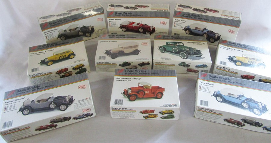 Lot 30 - 10 vintage die cast metal car kits - Packard Victoria (2), Packard Roadster (2), Packard Phaeton,