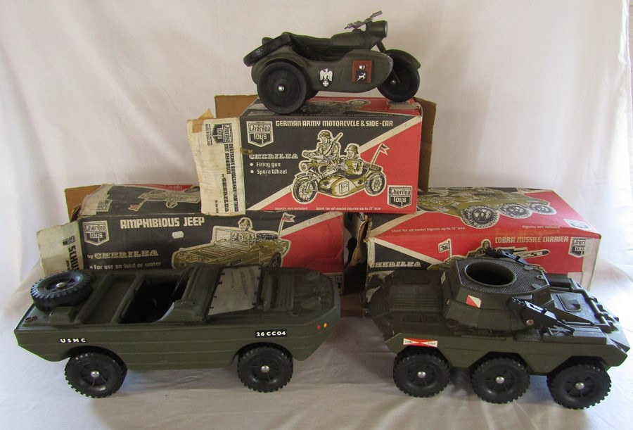 Lot 11 - 3 Cherilea toys - Amphibious jeep, German Army motor cycle and side car & Cobra missile carrier