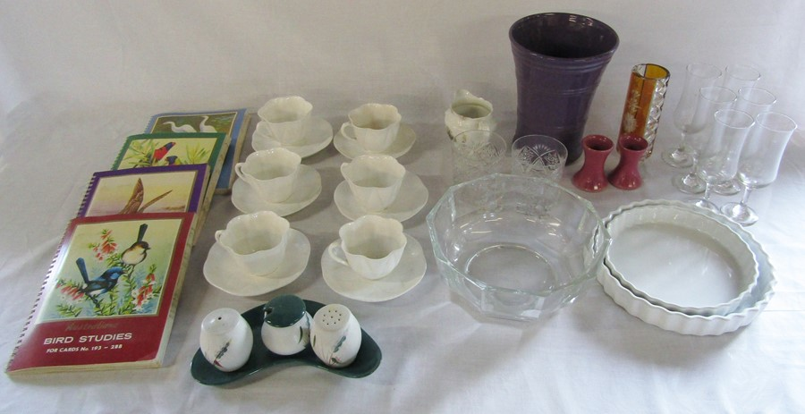 Lot 59 - Selection of glassware, cigarette card albums and ceramics inc Shelley & Denby