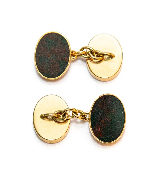 A pair of gents 18ct gold oval sleeve links, inset moss agate panels, approximate weight all in 14 - Image 2 of 2