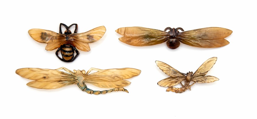 Georges Pierre, a series of four French horn Art Nouveau insect brooches, the bee design signed