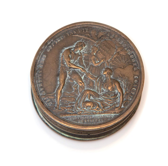 Napoleon Interest, a novelty cast metal pocket snuff box in the form a Napoleonic coin, screw top,