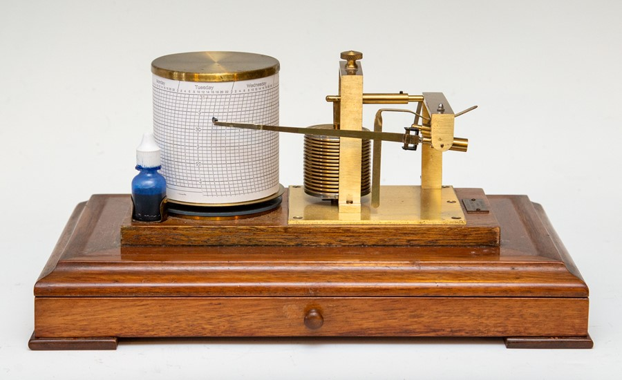 A vintage F.Darton & Co mahogany cased barograph, glazed cover, chart drawer to frieze, Serial No.