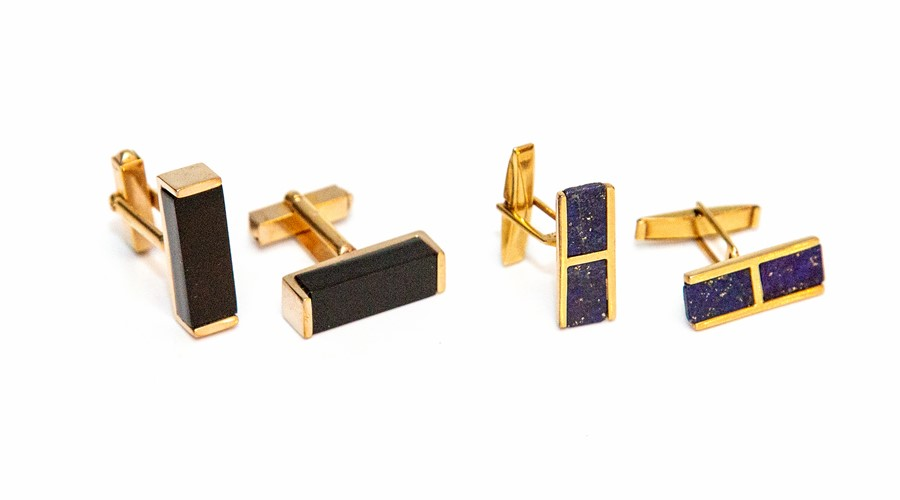 Two pairs of post-war yellow metal gents cufflinks, one pair set with lapis lazuli, the other with