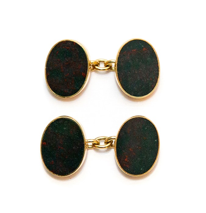 A pair of gents 18ct gold oval sleeve links, inset moss agate panels, approximate weight all in 14