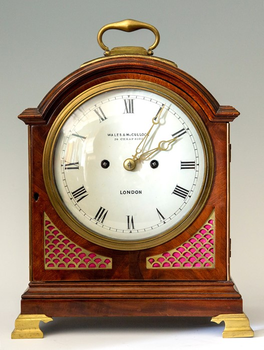 Wales & McCulloch, London, a mid 19th Century mahogany bracket clock, circa 1845. the arched case