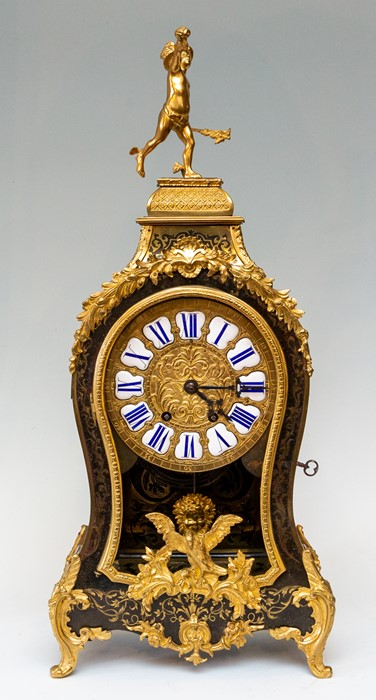 A 19th Century French boulle work balloon bracket clock, circa 1870, of Rococo design, cast gilt