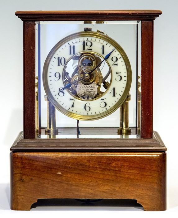 An early 20th Century Century Eureka electro-magnetic bracket clock, glazed case, Arabic numeral