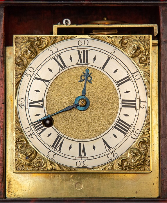 A miniature tortoiseshell bracket timepiece, of Georgian design, caddy top with white metal swing - Image 3 of 3