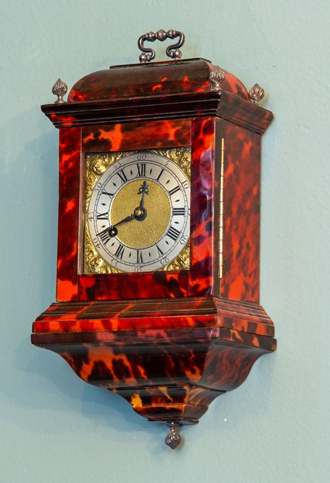 A miniature tortoiseshell bracket timepiece, of Georgian design, caddy top with white metal swing - Image 2 of 3