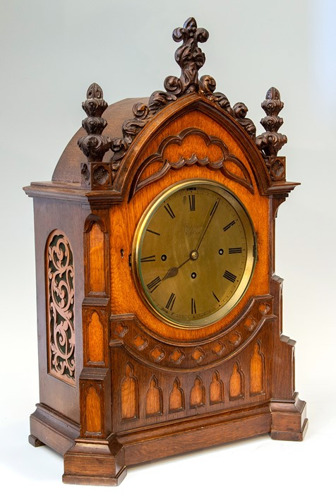 Kippax, Retford, a mid 19th Century musical oak bracket clock of Gothic Revival design, the arched - Image 2 of 3