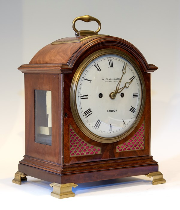 Wales & McCulloch, London, a mid 19th Century mahogany bracket clock, circa 1845. the arched case - Image 2 of 3