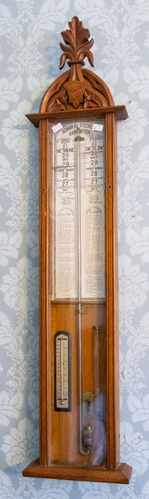 A late 19th century Admiral Fitzroy's barometer, oak case of Gothic design, height 118cm