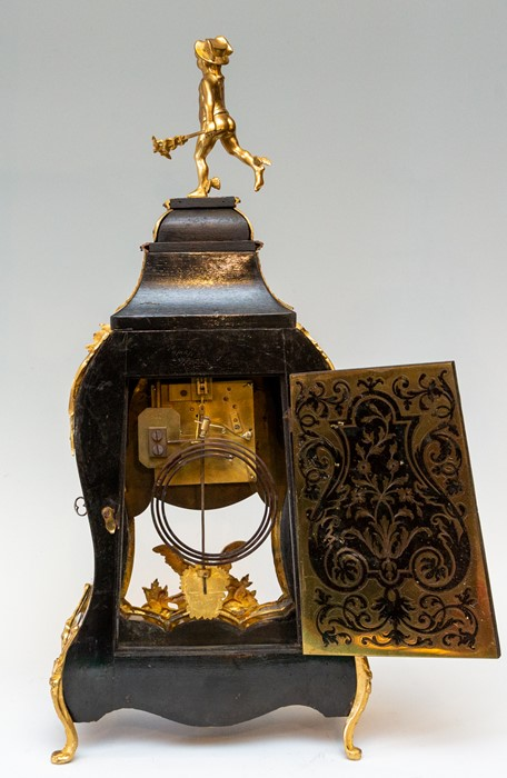 A 19th Century French boulle work balloon bracket clock, circa 1870, of Rococo design, cast gilt - Image 2 of 2