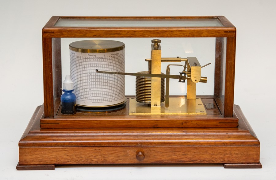 A vintage F.Darton & Co mahogany cased barograph, glazed cover, chart drawer to frieze, Serial No. - Image 2 of 2