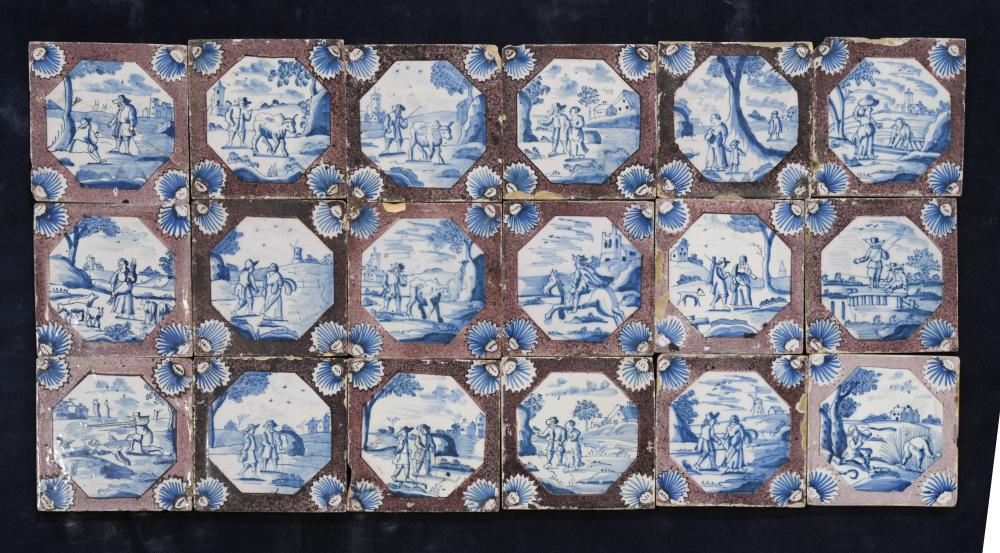 Lot 36 - A set of twenty-five 18th century Delft tiles, the manganese 'sponged' bodies reserved with canted